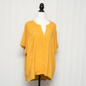 Ava and Viv Plus Size Yellow Button up Tee 2X